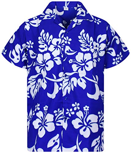 fc92e65d0827 Funky Camisa Hawaiana, Hibiscus, azul índigo, 4XL