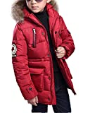 Qitun Los niños chicos capa de la chaqueta abajo cubre Ligera Outwear con capucha Jack 170 para Chicos Vino rojo 160 (100 cm Busto)