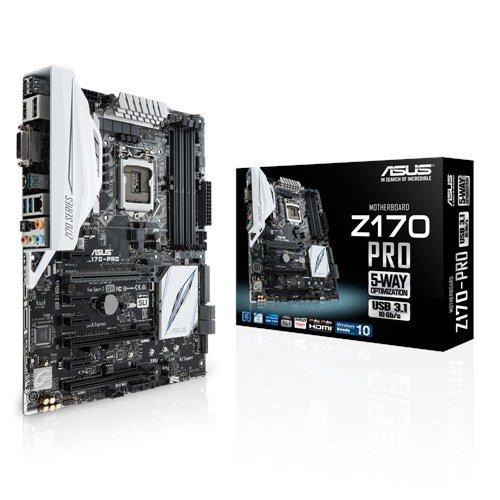 ASUS  Z170 Pro Motherboard (Socket 1151, Z170, DDR4, S-ATA 600, ATX, SupremeFX, Sonic Radar ll)