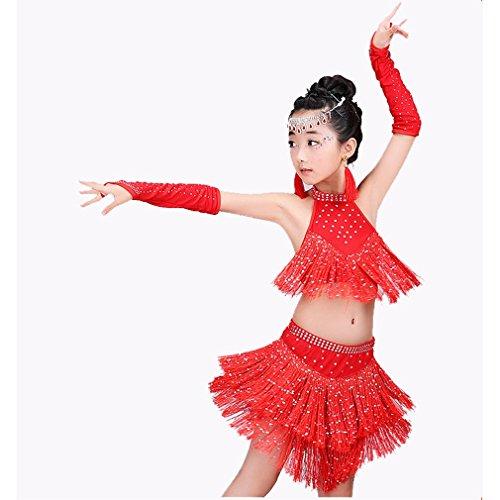 tfits Performance Polyester Spandex Kristalle/Strass Quaste Ärmellose High Top Rock Handschuhe,Red,L (Red Tutu Kostüm Idee)