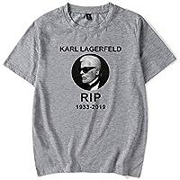 Camiseta Moda Salvaje Karl-Lagerfeld Impresión Manga Corta Tee Casual Suelto Camiseta Suave Cómodo/gris/XS