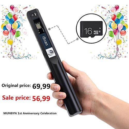 [16G Micro SD ] Handscanner 900DPI Auflösung s/w und Farbe Dokumentenscanner/Portable Scanner/Wireless Tragbarer A4 Scanner mit Karte JPG und PDF Format - Schwarz