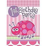 Party Einladungen 'Happy 1st Birthday' Mädchen Marienkäfer - 8 Stück
