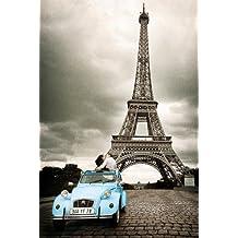 Empire - Póster (61 x 91,5 cm, incluye 2 barras de sujeción transparentes de plástico, 62 cm), diseño de Torre Eiffel y coche 2CV azul