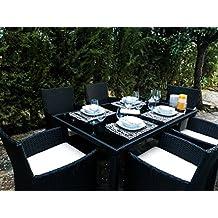 KieferGarden Washington Comedor Conjunto muebles de comedor para jardín y terraza en ratán sintético