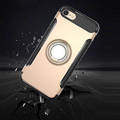 UKDANDANWEI Apple iPhone 8 Hülle mit 360 Grad Full Body Ring Ständer, Hybrid Dual Layer Defender Handyhülle Case [Shock Proof] für Apple iPhone 8 - Schwarz Cyan