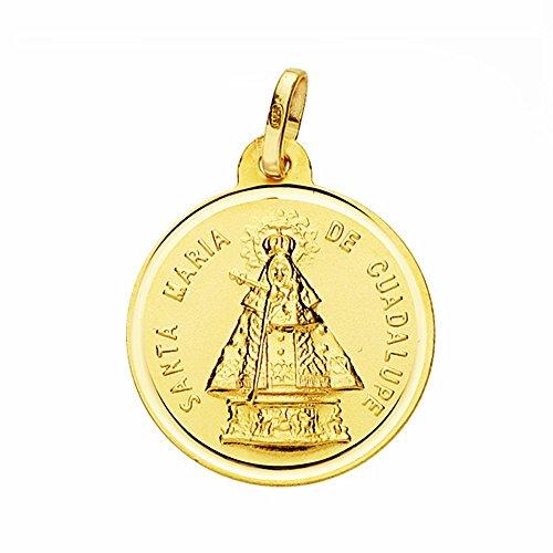 Medalla Oro 18K Virgen De Guadalupe 18mm. Lisa Bisel [Aa2668Gr] - Personalizable - Grabación Incluida En El Precio