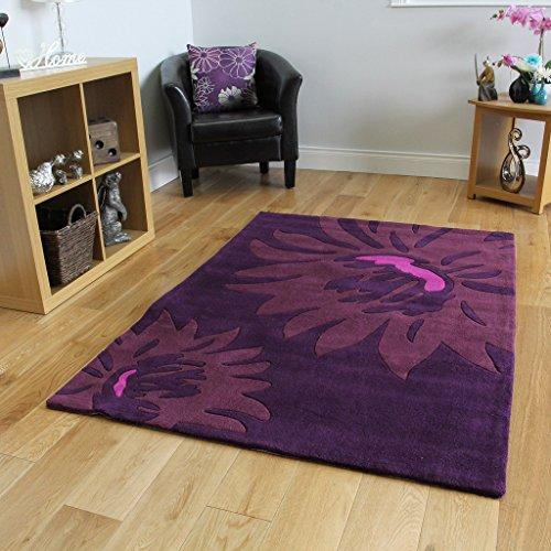 Modern Floral Print Aubergine Soft Acrylic Floor Rug 3 Sizes Available Bilbao