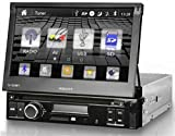 """Xzent X-101 Moniceiver zur Nachrüstung + Autoradio Tuner für FM und AM Empfang + UKW RDS Tuner mit DSP basierter Rauschunterdrückung + 7"""" / 17,8cm Touchscreen motorisiert ausfahrbar + Bluetooth Freisprechfunktion und Bluetooth Musik-Streaming + CD / DVD Player + Front Anschluss für USB und SD-Karte + Tricolor Tastenbeleuchtung + lässt sich ideal nachrüsten in Fahrzeuge mit Standard 1 DIN Autoradio Vorbereitung + 4x40 Watt Verstärker + integrierter Equalizer mit 5 Klang-Presets"""