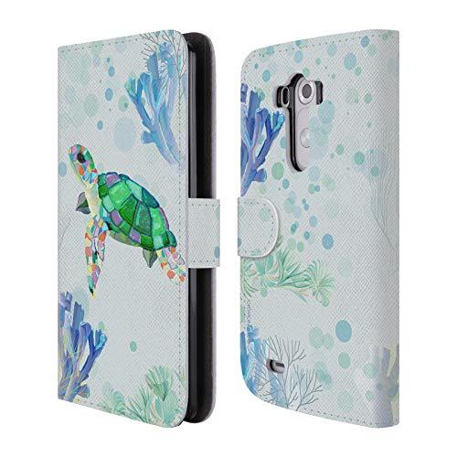 Head Case Designs Offizielle Turnowsky Schildkroete Tiere 2 Brieftasche Handyhülle aus Leder für LG G3 / D855 / D850 / D851 (Schildkröte Lg G3)