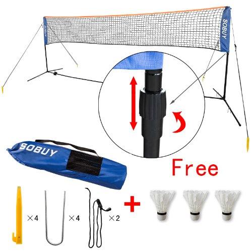 Preisvergleich Produktbild SoBuy® Höhenverstellbar,  Federballnetz,  Badmintonnetz,  Minibadmintonnetz, Tennisnetz mit Gestell / Gestänge, mit 3 Federball als Gratis,  SFN02(4M Lang)