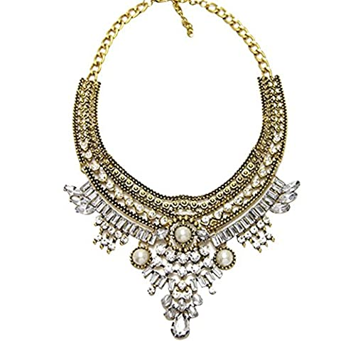 Contever® Elegant Lady's Crystal Choker Chunky Collar Necklace Jewelry (Gold)
