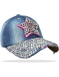 Damen Jeans Basecap Baseball Cap Mütze Kappe mit Stern und Strasssteinen - C001
