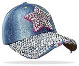 Damen Jeans Basecap Baseball Cap Mütze Kappe mit Stern und Strasssteinen - C001 (C001 - Pink)