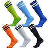 VWU Unisex Jungen Frauen Herren Mädchen Fußball Sport Kompression Strümpfe Streifen Tube Socken Baumwolle 6er Pack (Small)