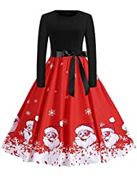 Walaka Deguisement NoëL Femme Vintage Robe Jupon Vintage Print Manches Longues FêTe De NoëL Robe De SoiréE Swing