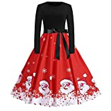 Cooljun Weihnachtskleid Damen Langarm Kleid mit Schneemann Weihnachtsmann Rockabilly Festlich Kleid Swing Kleid Faltenrock Partykleid Christmas Dress