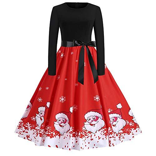 Cooljun Weihnachtskleid Damen Langarm Kleid mit Schneemann Weihnachtsmann Rockabilly Festlich Kleid Swing Kleid Faltenrock Partykleid Christmas Dress