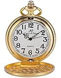 KS KSP003-Orologio da taschino meccanico da uomo, orologio al quarzo a cipolla vintage con cassa in oro