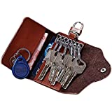 محفظة مفاتيج, وبطاقات مصنوعة من جلد البقر- اللون بني غامق