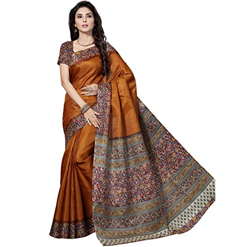 Rani Saahiba Women's Synthetic Saree With Blouse Piece (Skr1916_Mustard)