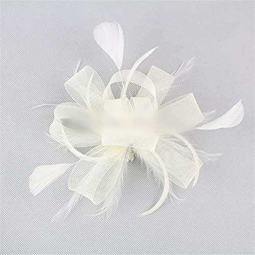 ume der Tanzhaarzusätze der Kinder Plus Perlen blüht Maschenstirnband-Wildkleidshow-Brautkopfschmuck (Farbe : Beige) ()