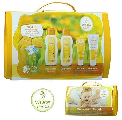 4 Produkten Weleda Bio Calendula, Organic Cotton Bag und Ecological Windel | Es wird mit einer Baby-Mini-Karte und einer Papiertüte mit dem Weleda-Logo verschickt! ()