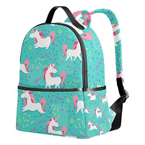 Ahomy Rucksack für Mädchen, magisches Einhorn mit Regenbogenhorn, Herzen, Flügeln, Pink Memphis Rucksack Schulbuch-Taschen Casual Daypacks für Reisen und Sport