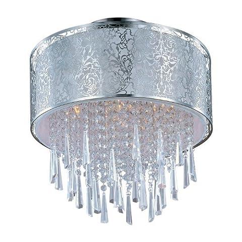 Maxim Lighting 22291WTSN Rapture 5-Light Semi - Flush Mount, Satin Nickel Finish with White Fabric Shade and Crystals by Maxim Lighting