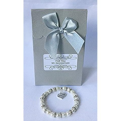 Elegante pulsera de Godmother bautizo, diseño de joyas Colgante de Corazón con bolsa de organza de regalo personalizada Padrino, crema, adult -