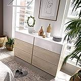 LIQUIDATODO  - Comoda de 6 cajones 122 cm moderna y barata en natural y blanco brillo