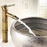 FREGHRT EuropäIsche Antike Wasserhahn Becken Wasserhahn Messing Mischbatterie Einlochmontage 12 Zoll Bad Wasserhahn Bad-Accessoires Sets Bronze Brass