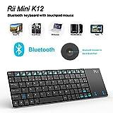 Rii Mini K12. Teclado con ratón táctil (Tocuhpad), con Bluetooth incorporado. Acabados en acero inoxidable para Tablet/Smartphone/ Apple/ PC, etc. Distribución del teclado en Español Sé el primero en opinar sobre este producto (receptor Bluetooth no incluido)