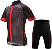 Decdeal Men's Cycling Clothes Set Quick Dry Short Sleeve Bicycle Jersey Shirt Tops 3D Cushion Padded Ridin