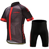 Lixada Men's Cycling Clothes Set Breathable Quick Dry Short Sleeve Bicycle Jersey Shirt+3D Cushion Padded Riding Shorts Tights Pants