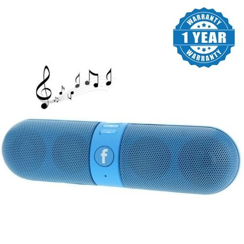 Captcha Bluetooth Stereo Speaker with FM/Pendrive SD Card Input and LED MP3 Music Player for All Android Devices and iPhones(Blue)
