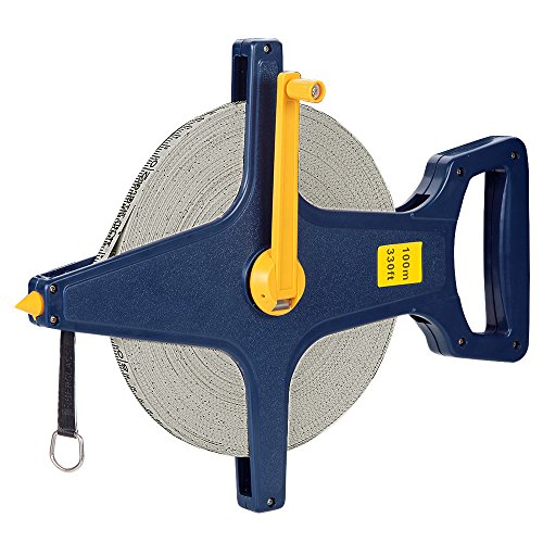Deuba Rollbandmaß | 100m/330 Ft | Beidseitig markiert | Fiberglas | Öse | Maßband Bandmaß Messband Rollmeter Rollmaßband -
