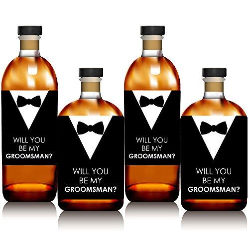Suit Up-Will You BE My Groomsman Whisky ou étiquette de bouteille de vin Stickers-Lot de 4 (Bottle Labels Whiskey)