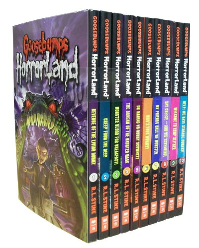 Goosebumps Horrorland Series Collection R L Stine 10 Books Set (Revenge Of The Living Dummy, Dreep From The Deep, Monster Blood For Breakfast, Haunted ... Say Cheese, Camp Slither, Strange Powers)