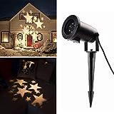 Salcar LED Effektlicht mit warmweißen Sternen, dynamische Motive, Gartenleuchte Projektor, Mauer Dekoration, Party Licht, Gartenlicht für Festen, Weihnachten, Karneval