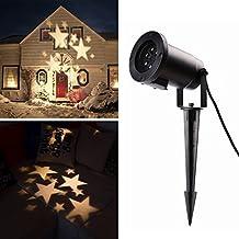 Salcar LED Proiettore Luci Natale con stelle bianche calde, disegni dinamici, Rotazione di proiettore RGB, Luce di Proiezione LED Natale, proiettore lampada da giardino, decorazione della parete, illuminazione per feste, illuminazione del giardino per feste, Natale, Carnevale - Stagno Striscia