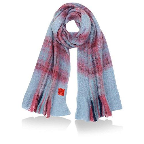 ERFURT Damen Checked Blanked Scarf, Baby Blue, (BxL) 200 x 35 cm (Gefilzte Wolle-perlen)