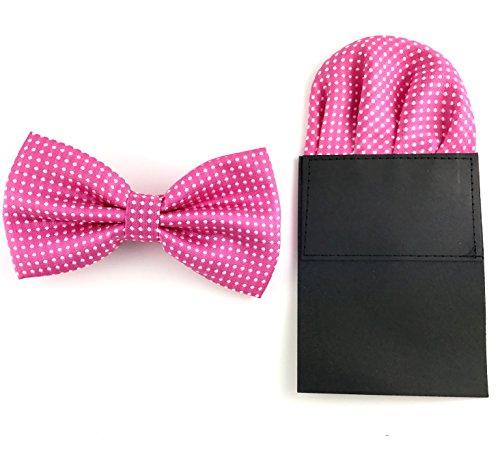 GOOD.designs Set - gebundene Fliege mit Einstecktuch aus Polyester Kunstseide, Accessoires für Herren-Anzug in Rosa/Pink