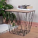 Unbekannt Retro Schwarz Metall Draht Quadratisch Holz Top Speicher Seite Tabelle Korb Home Möbel