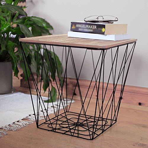 Unbekannt Retro Schwarz Metall Draht Quadratisch Holz Top Speicher Seite Tabelle Korb Home Möbel (Schwarz-speicher-körbe)