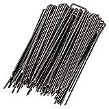 WUNDERGARDEN - 100 Erdanker für Unkrautvlies, Erdnägel aus Stahl im Set zur Befestigung von Unkrautflies, Unkrautfolie, oder fürs Camping - Erdpieß, Erddübel, Bodenanker - 150x25mm - Ø2,7mm