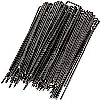 WUNDERGARDEN 100 grapas de sujeción de acero - Set de grapas para tierra para ajuste de mallas geotextiles, telas contra malas hierbas, camping - Pinchos de tela para suelo - 150 x 25 mm - Ø 2,7 mm