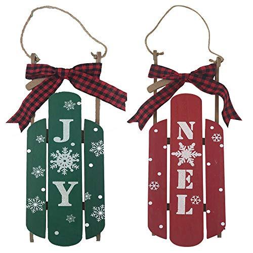Happy Holidays Weihnachts-Schlitten-Dekoration, Hängeschild - Red Noel und Green Joy mit Büffelkaro, 2 Stück -
