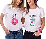 2 Stücke Best Friends Partner T-Shirt Lustige Passende Kurzarm Für 2 Damen mit Aufdruck Kaffee und Donut von Ziwater (Best-S+Friends-S, Weiß)