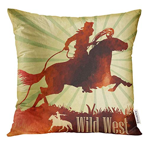 ed Rodeo Cowboy on Horse Ride Watercolor Pic Vintage Western Decorative Pillow Case Home Decor Square 18x18 Inches Pillowcase ()